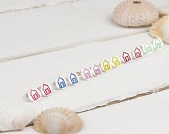 Beach Hut Studs - Earrings - Seaside - Coastal - Gift for Her - Nautical jewellery - Silver