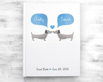 DACHSHUND Wedding Guest Book, Wiener Dog Wedding Guestbook, Custom Guest Book, Personalized Guestbook, Animal Wedding Book, Wedding Journal