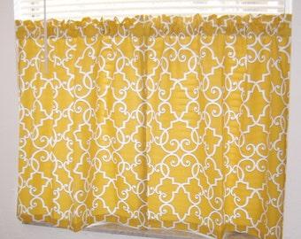 Cafe Curtain, Door Curtain, Kitchen Curtain, Mustard Gold,  Cafe Curtain, Gold Cafe Curtain Set, Mill Creek Paramount in Sunflower