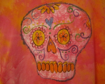 Colorful flower-eyed skull hand-made batik t-shirt - Size Ladies 2x