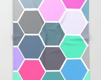 Colorful Hexagon Art - Super Soft Fleece Throw Blanket - Bedding - Colorful Throw Blanket - Fleece Throw Blanket - Made to Order