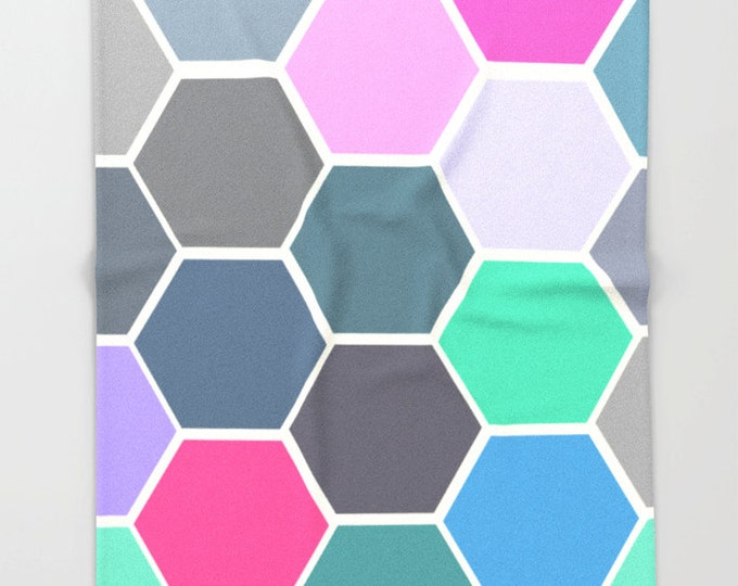 Colorful Hexagon Art - Super Soft Fleece Throw Blanket - Bedding - Colorful Throw Blanket - Fleece Throw Blanket - Made to Order
