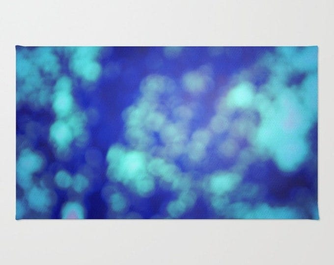 Blue Floor rug - Room Rug -Blue Bokeh Photography - Bathroom Rug - Throw Rug - Made to Order