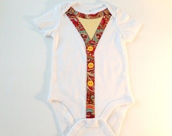 Baby Bodysuit, Baby Girl Bodysuit, Embellished Bodysuit, 6 to 9 mo size, Bodysuit with vest, Paisley Vest, Darling baby outfit