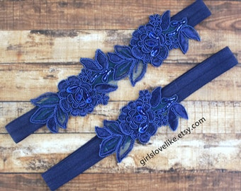 Navy Flower Lace Garter Set, Dark Blue Lace Wedding Garter, Blue Wedding Garter, Toss Garter, Wedding Garter Belt, Something Blue