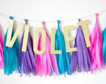 Custom Glitter Tassel Banner - One Stylish Party