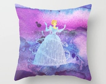 Cinderella Watercolor Decorative Pillow with insert, Disney Princess Pillow, Cinderella Cushion,