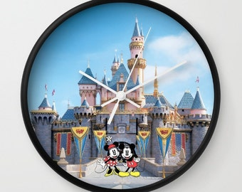 """10"""" Disneyland Minnie and Mickey Mouse and Cinderella's Castle Wall Clock"""