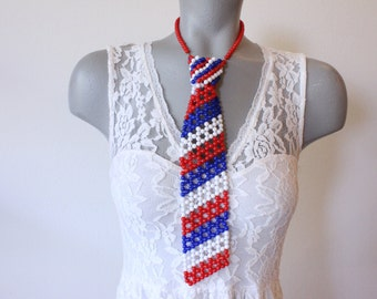 Hong Kong Vintage Plastic Red White and Blue Bead Tie Necklace (retro 50s 60s necklace patriotic 4th of july usa united states flag hippie)