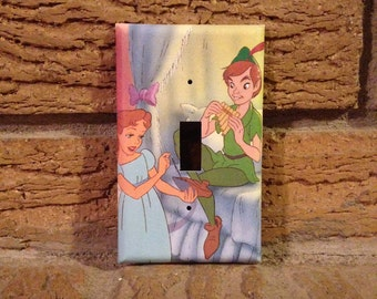 Wendy and Peter Pan Light Switch Plate Cover, Peter Pan Neverland, Peter Pan Nursery, Peter Pan Decoration, Peter Pan Lost Boys, PP20