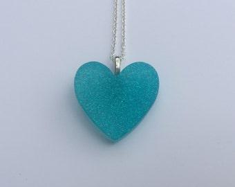 Light Blue Glitter Resin Heart Pendant
