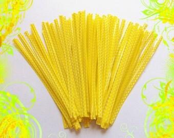 25 Plastic Twist Ties ( 4 inches ) .. Twist Ties, Yellow Twist Ties, Plastic Twist Ties, Gift Bag Twist Ties, Food Packaging Twist Ties