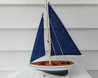 17 inch wooden sailboat /  beach dcor / nautical decor