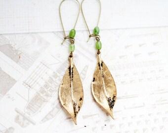 Vintage Golden Leaf Earrings, Leaves, Moss Agate Beaded, Vintage Brass Long Earrings, Gypsy Moonchild Gift For Her, Earrings