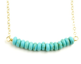 Turquoise Beaded Bar Necklace Dainty Bar Gold Filled Chain Turquoise Jewelry Women Handmade Layering Necklace December Birthstone Necklace