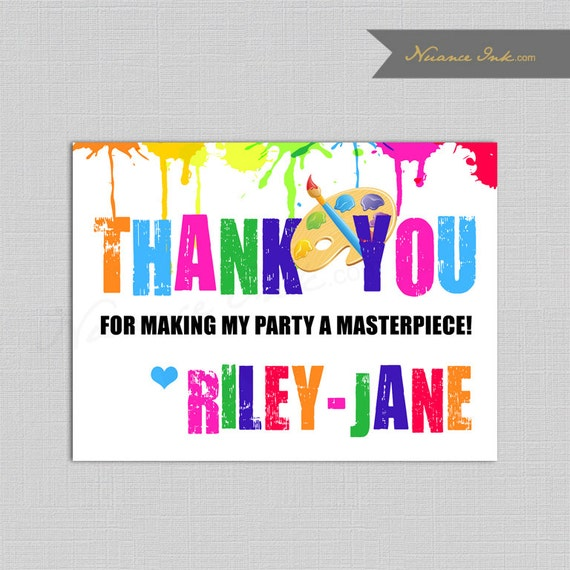 Painting Party  Birthday Party Thank You Card, printed or digital copy, paint, art, brushes, canvas