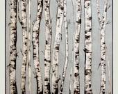 "Birch trees acrylic painting, landscape Painting, original handmade painting, wall art M.Schöneberg  ""Black& White"" Birch trees16x16x0,75"