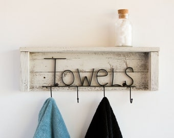 Towels Rack with Shelf on Reclaimed Wood