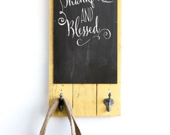 Chalk Board with Vintage Industrial Hooks