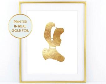 Gold Foil Cinderella Print - Child Nursery Bedroom Decor Paper in Foil Print in Real Metallic Foil