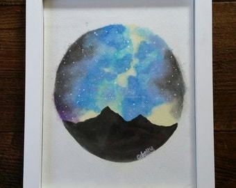 Hand Painted Watercolor Sky Picture -- Framed and Ready to Ship!