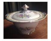 Antique Art Deco Sugar Bowl & Lid -Noritake Moreton- Gold -RARE- 1930's