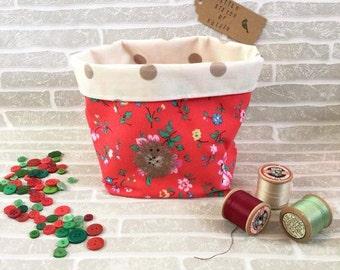 Storage Basket, Hedgehog Design, Bedroom Storage, Fabric Basket, Nursery Decor, Bathroom Storage, Woodland Nursery, Makeup Organizer