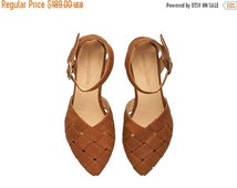 SUMMER SALE Sophie,  Brown Sandals, Leather Sandals, handmade, flats, leather shoes, by Tamar Shalem on etsy