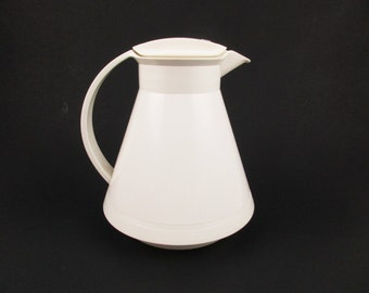 A 'Lylvette' Rotpunkt/Red Point Thermal Pitcher - White Plastic Top and Bottom - Made in West Germany - Conical - Open and Close Lid