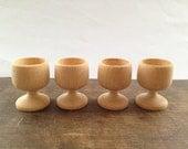Vintage wooden glasses Set of 4 carved wood glasses Brown wooden goblets Footed wooden glasses rustic tableware