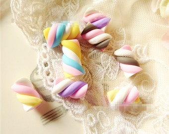 20pcs Polymer Clay Cotton candy  cabochon Sweets DIY Decoration
