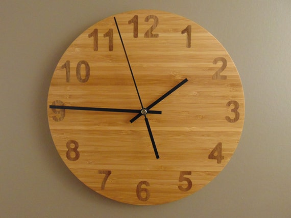 Bamboo Wall Clock with Walnut Numbers