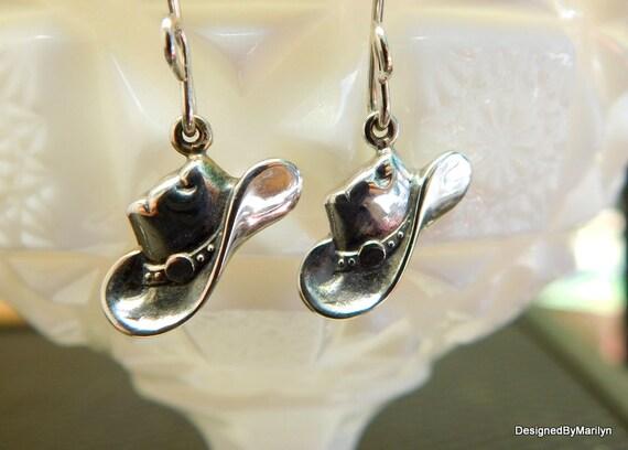 Sterling silver cowgirl hat earrings, cow girl jewelry, western jewelry, rodeo award.