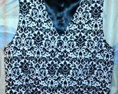 Men's vest in black/white damask, black/ivory damask or any solid color, makes a HUGE statement at your special event.