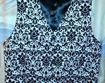Men's vest in black/white damask, black/ivory damask or any solid color, makes a HUGE statement at your special event.