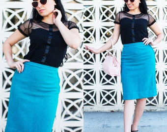 Vintage 1950's Teal Turquoise Wool Pencil Skirt VLV Pinup Rockabilly Small