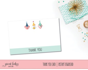 Farm Party Thank You Cards, Barnyard Birthday Party Thanks, Farm Animal Party Thank You Notes, Birthday Boy, Birthday Girl, Cow Pig Rooster