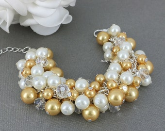 Gold and Ivory Pearl Cluster Bracelet, Gold and Ivory Cluster Bracelet, Bridesmaids Bracelet, Gold and Ivory Bracelet, Pearl Chunky Bracelet