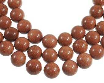 "Goldstone 16mm Round Gemstone Beads - Full 16"" Strand - About 25 Beads - Shimmering Stone!"