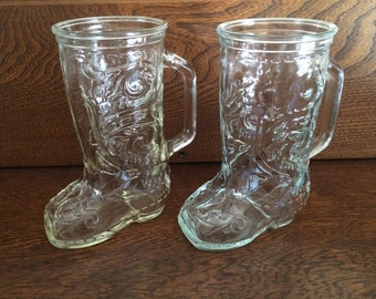 LARGE COWBOY BOOT Mugs - Clear Glass Cowboy Boot w/Handles - Patterned Glass Mugs - Glass Boot Mugs