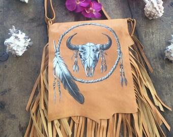 Hand painted boho fringe bag