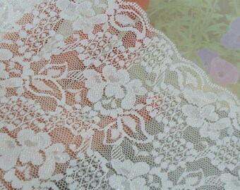 Lace Stretch Fabric White 5 inches wide Stretch Galloon Lace Diy Wedding Lingerie Elastic lace by the yard Cute W1