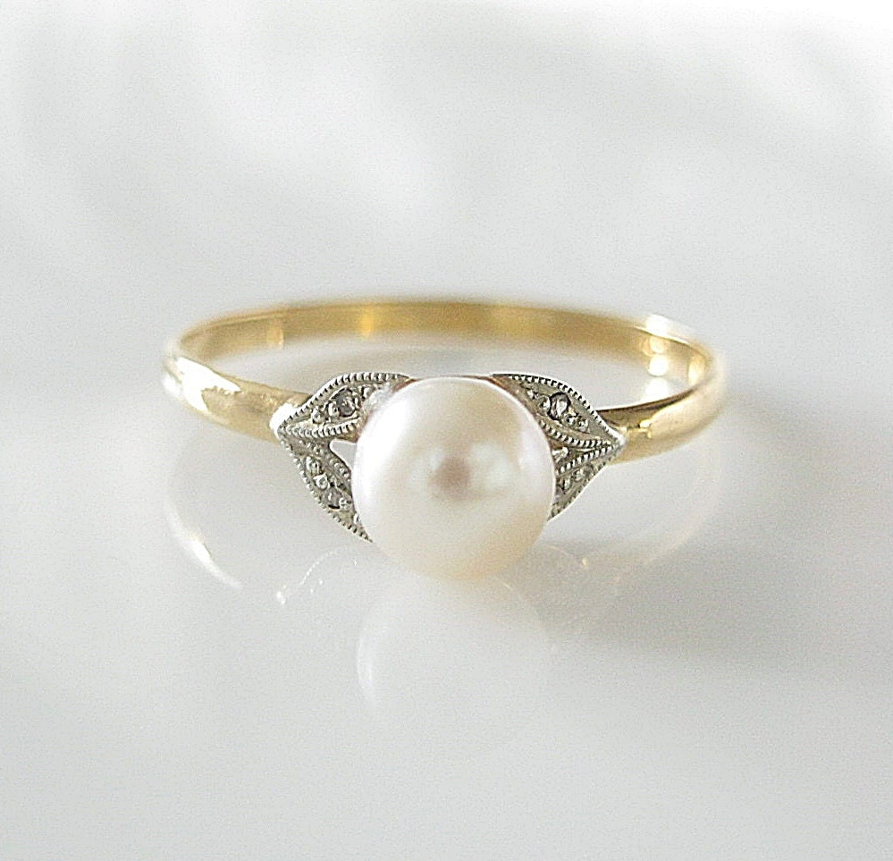 RESERVED Antique 18K Diamond Pearl Gold Ring Engagement