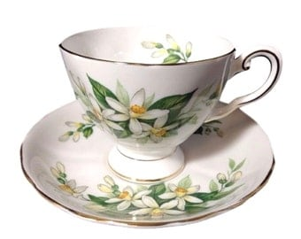 Royal Tuscan Bone China Teacup Set, Vintage Cup and Saucer with Orange Blossoms,  Bridal Flower Pattern Cup Saucer from England