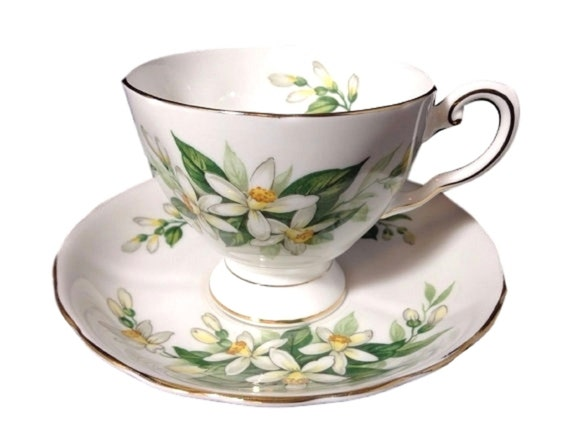 Royal Tuscan Vintage Cup and Saucer with Orange Blossoms, Bridal Flower