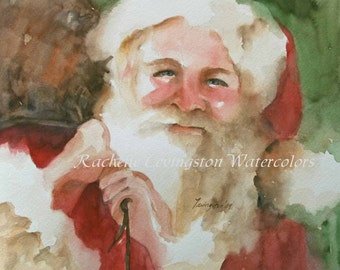 ATC watercolor painting portrait painting small christmas painting neighbor gift santa print christmas artwork SMALL Artist Trading Card