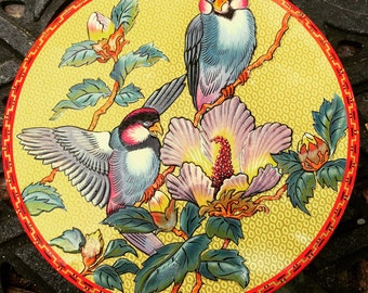 Vintage biscuit sewing tin with tropical birds Made in England
