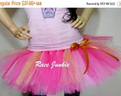 Sale- CIJ Pink and Gold Princess Running Tutu.with Glitter Tulle. Halloween Costume. Cancer Awareness.