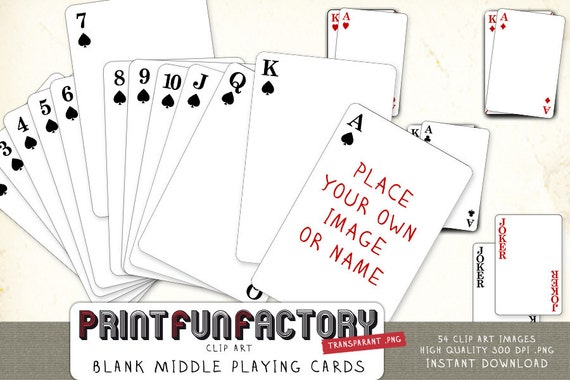 Playing cards blank middle digital file customize it playing cards blank middle digital file customize it yourself with your own photo or text digital clip art instant download solutioingenieria Images