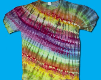 Rainbow Ice Dyed T-Shirt XL, Tie Dye, Ice Dyed